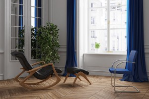 Room for psychotherapy with chair and a rocking chair (3D Render